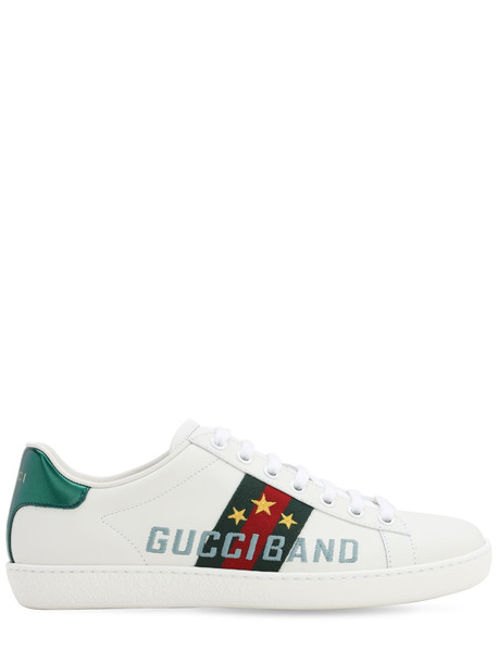 GUCCI 10mm New Ace Leather Sneakers in white