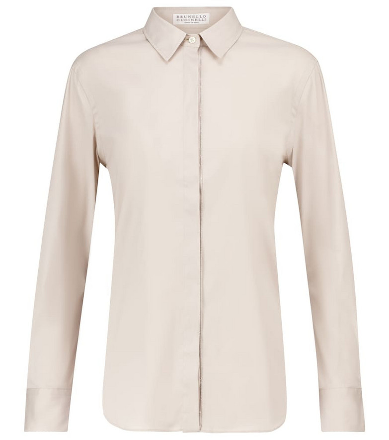 Brunello Cucinelli Embellished stretch-poplin blouse in white