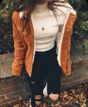 coat,orange corduroy fluffy