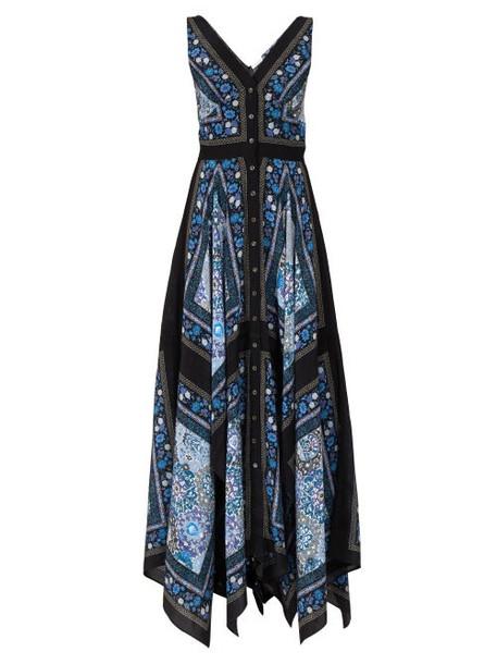 Altuzarra - Duel Patchwork Print Silk Dress - Womens - Blue Multi
