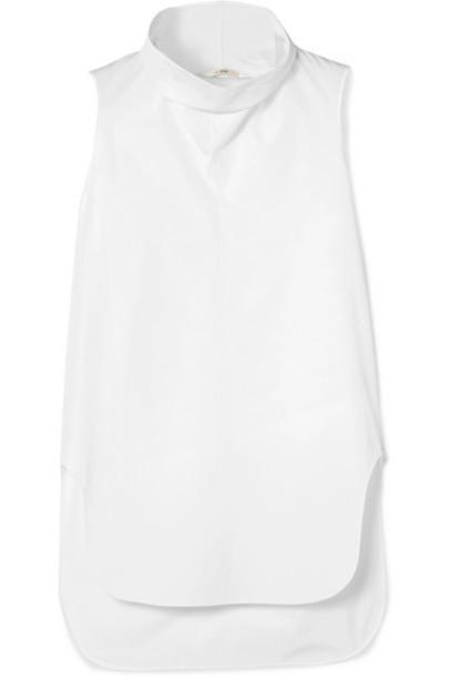 The Row - Almora Draped Cotton-poplin Top - White