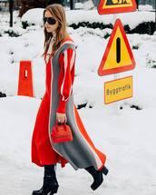 bag,handbag,balenciaga,red dress,maxi dress,long sleeve dress,black boots,knee high boots,heel boots,patent boots,knitted dress,puffed sleeves