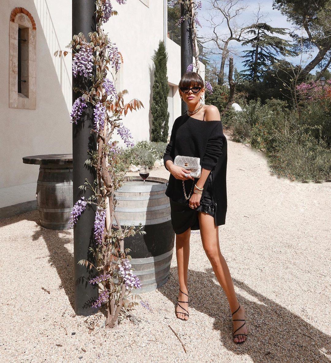 sweater black sweater black skirt black sandals high heel sandals bag
