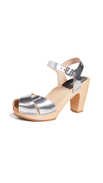 Swedish Hasbeens Merci Ankle Strap Clogs in silver