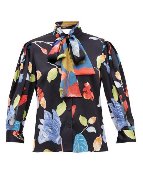 Peter Pilotto - Floral-print Silk-blend Seersucker Blouse - Womens - Black Print