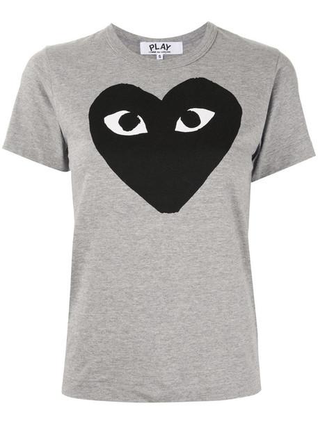 Comme Des Garçons Play logo-print T-shirt in grey