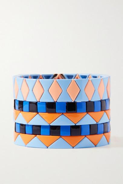 Roxanne Assoulin - Nemo Set Of Five Enamel And Gold-tone Bracelets - Blue
