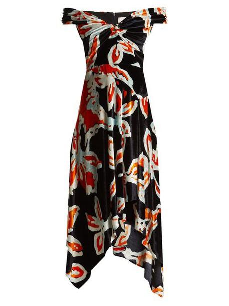 Peter Pilotto - Floral Print Off The Shoulder Velvet Dress - Womens - Navy Print