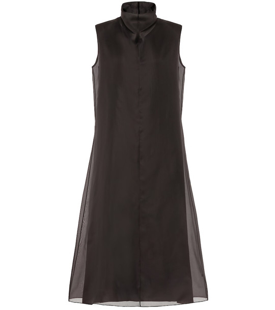 The Row Virginia silk midi dress in brown
