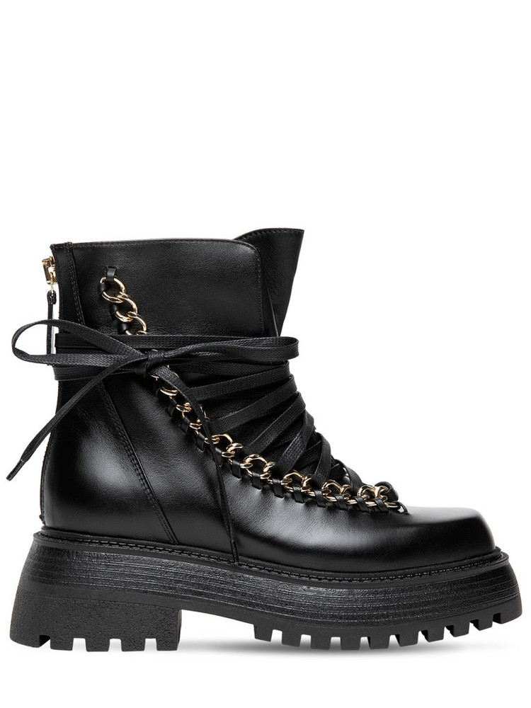 ALEVÌ 35mm Ines Leather Combat Boots in black