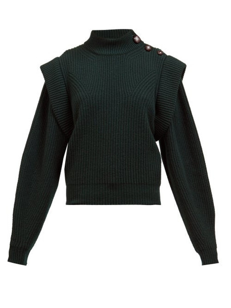 Isabel Marant - Peggy Exaggerated-shoulder Ribbed Wool Sweater - Womens - Dark Green