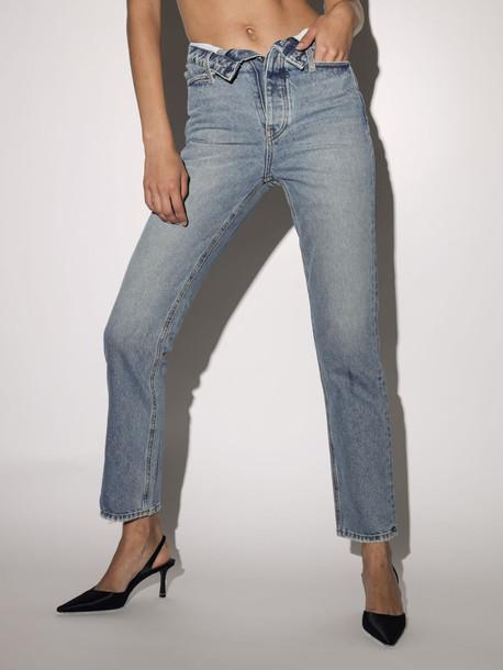 ALEXANDER WANG Folded Straight Leg Cotton Denim Pants in blue