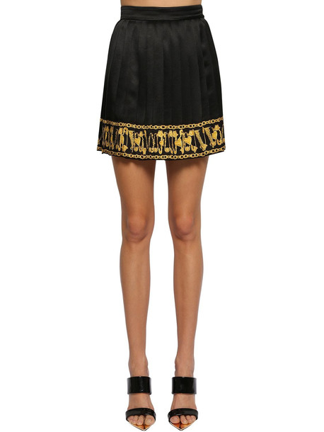 VERSACE Pleated Silk Twill Mini Skirt in black