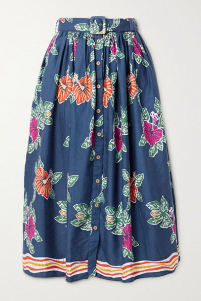 Miguelina - Elani Belted Floral-print Cotton Midi Skirt - Blue