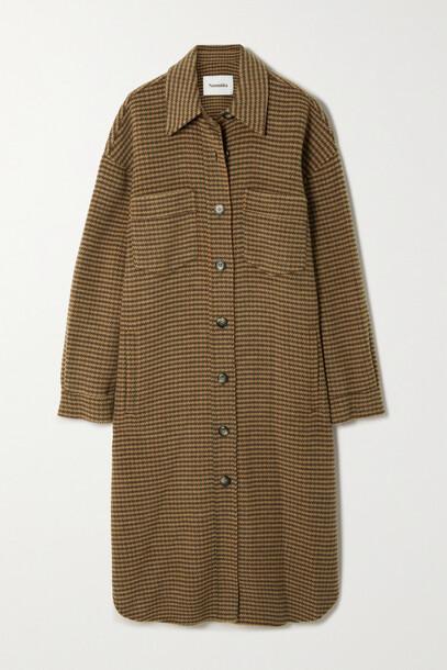 Nanushka - Cruza Oversized Checked Wool And Silk-blend Coat - Brown