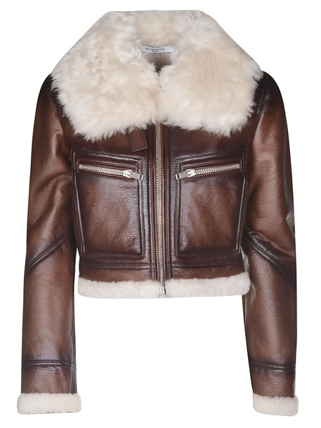 Givenchy Shearling Jacket in brown / white