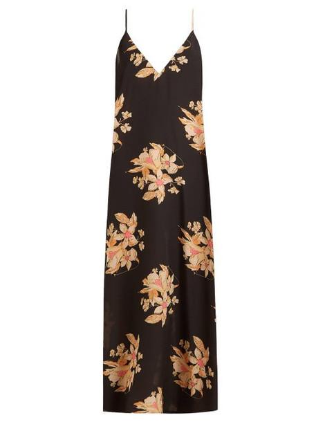 Raey - Vintage Floral Print Silk Slip Dress - Womens - Black Print