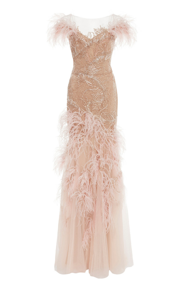 Marchesa Off The Shoulder Feather Gown in pink