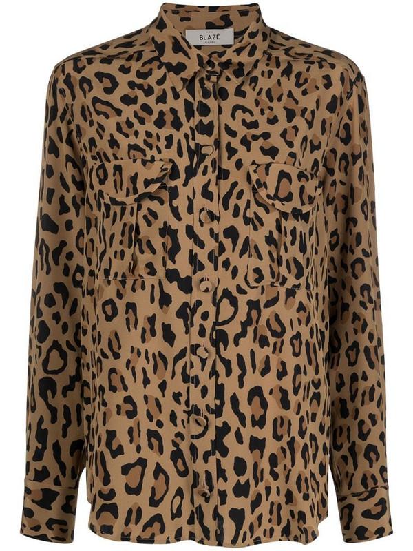 Blazé Milano leopard print long sleeve shirt in black