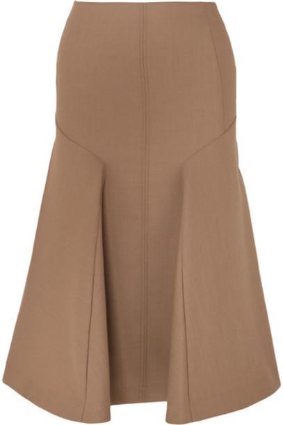 Joseph - Gaby Pleated Wool-blend Midi Skirt - Brown