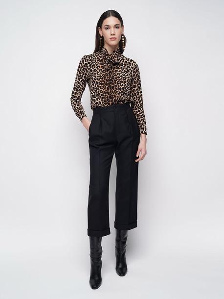 SAINT LAURENT Silk Leopard Print Crepe De Chine Shirt