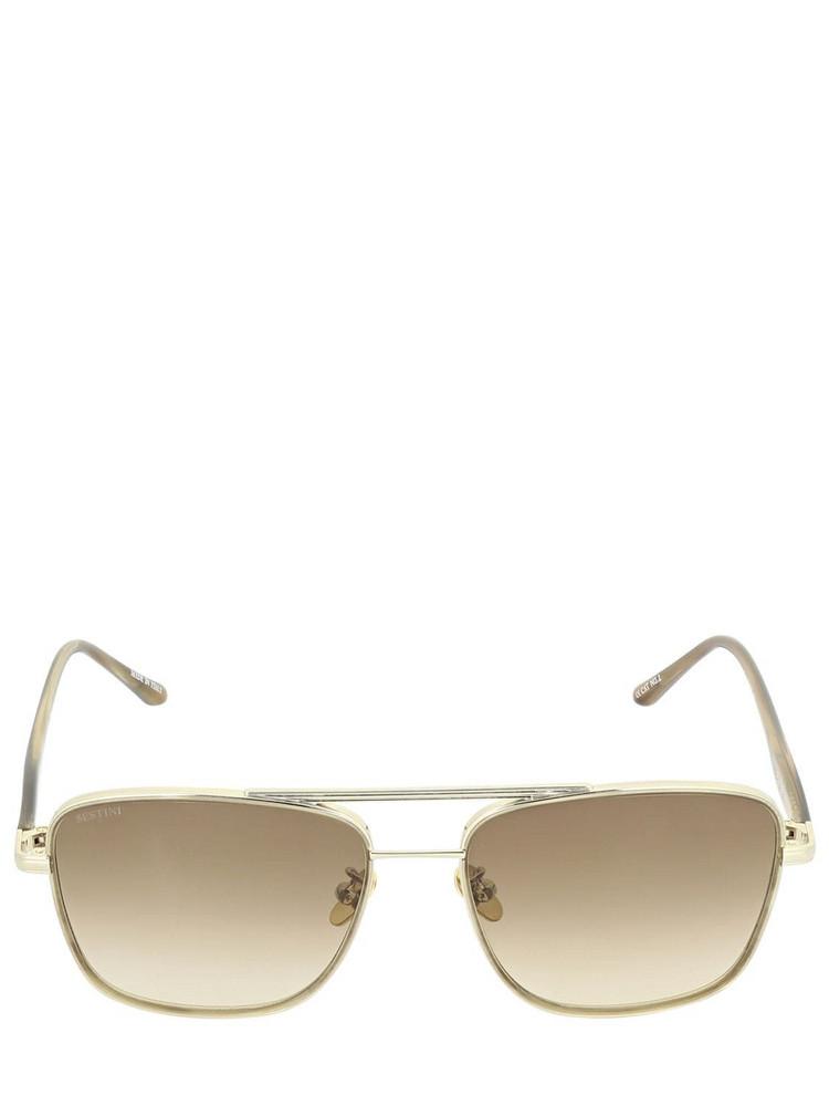 SESTINI Due Squared Steel & Acetate Sunglasses in taupe