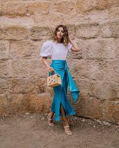 top,white blouse,puffed sleeves,midi skirt,blue skirt,white sandals,handbag