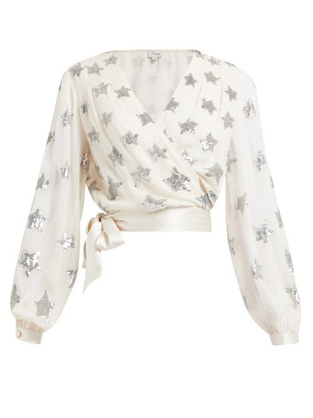 Temperley London - Starlet Sequinned Georgette Wrap Top - Womens - Light Pink