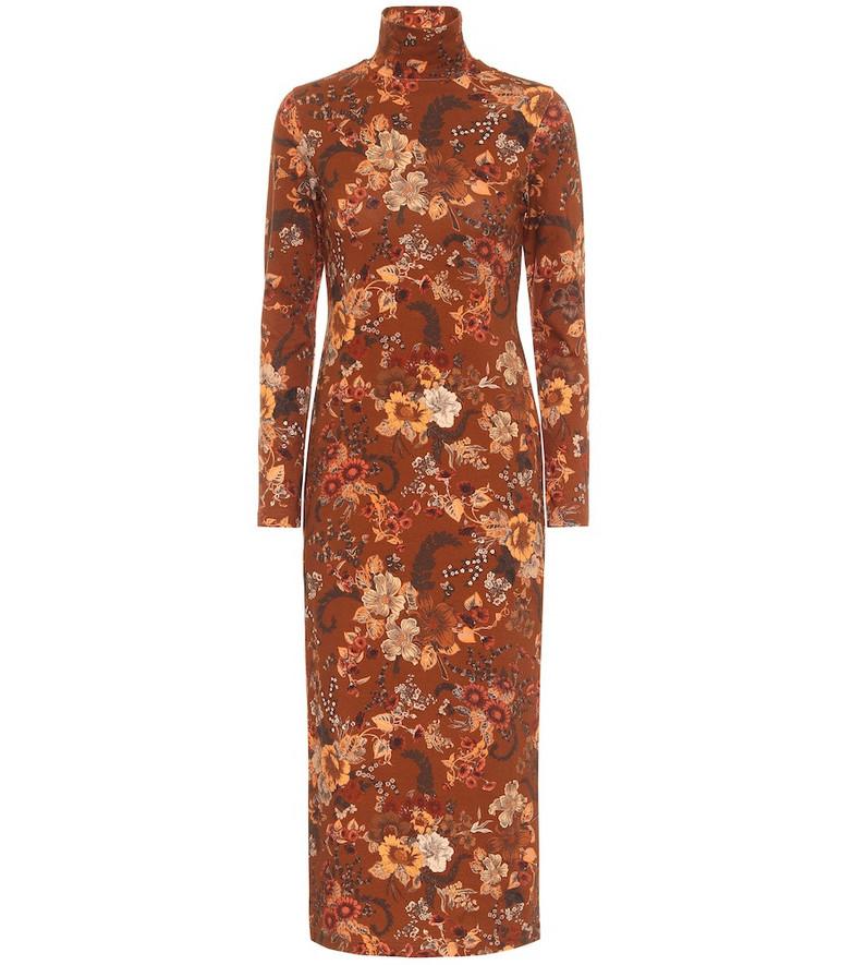 Balenciaga Floral stretch-cotton midi dress in brown