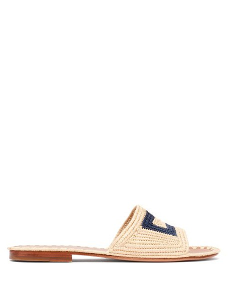 Carrie Forbes - Carree Raffia Slides - Womens - Cream Navy