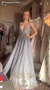 dress,grey,prom dress,dusty blue,light blue,v neck dress,jewels
