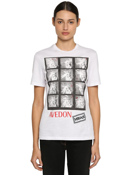 VERSACE Printed Cotton Jersey T-shirt in white