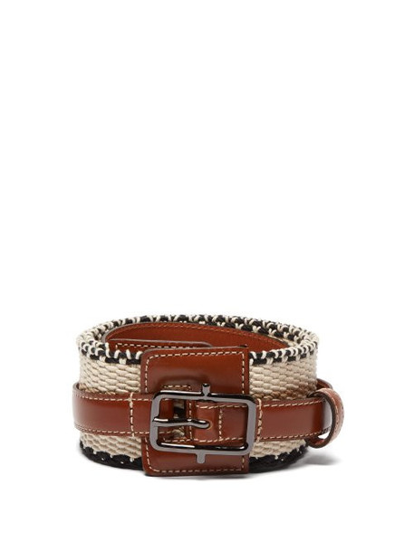 Etro - Woven Cotton And Leather Belt - Womens - Tan