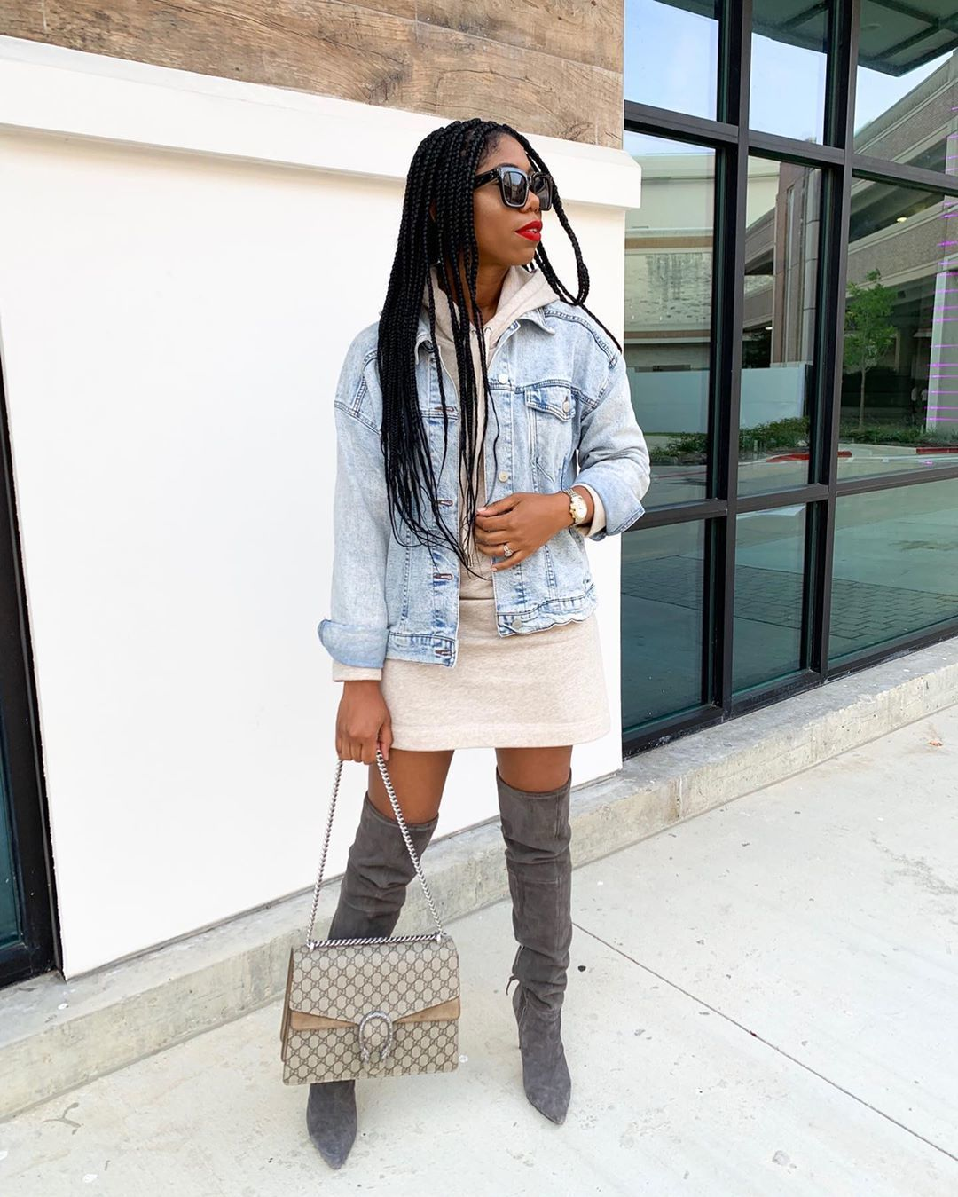 dress mini dress hoodie long sleeves over the knee boots grey boots suede boots gucci bag denim jacket
