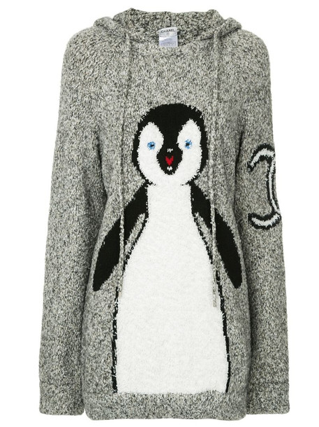 Chanel Pre-Owned 2007 knitted penguin hoodie in grey