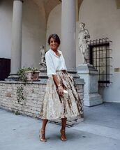 skirt,midi skirt,white shirt,sandal heels,gold,handbag