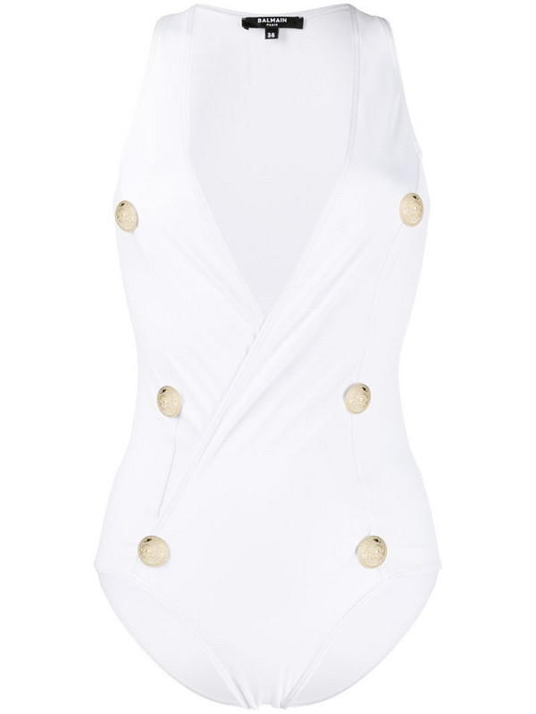 Balmain decorative buttons swimsuit in white