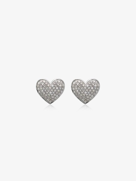 Shay 18K white gold diamond heart stud earrings