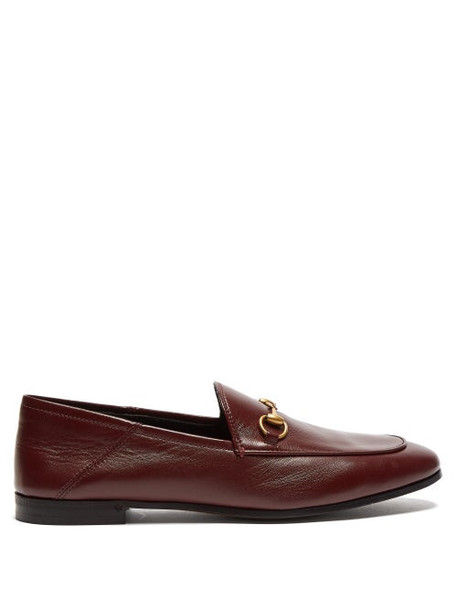 Gucci - Brixton Collapsible-heel Leather Loafers - Womens - Burgundy