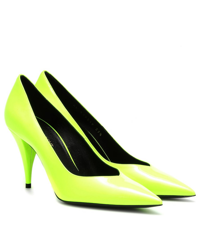 Saint Laurent Kiki 85 patent leather pumps in yellow