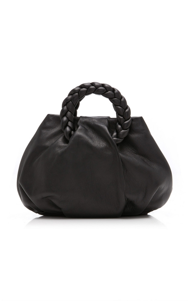Hereu Bombon Braided Leather Top Handle Bag in black