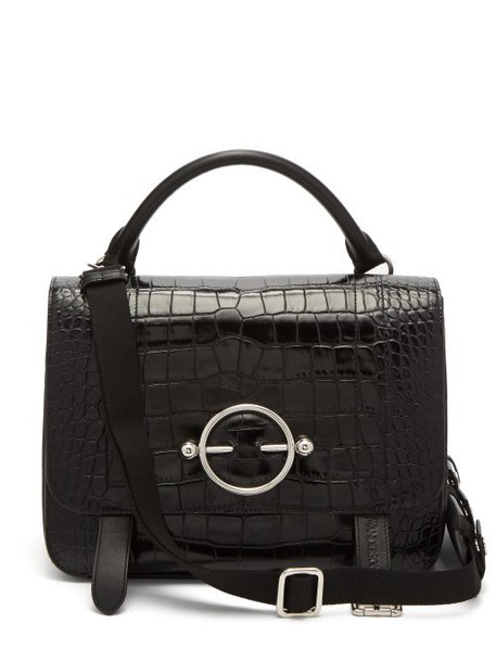 Jw Anderson - Disc Patent Leather Satchel Bag - Womens - Black
