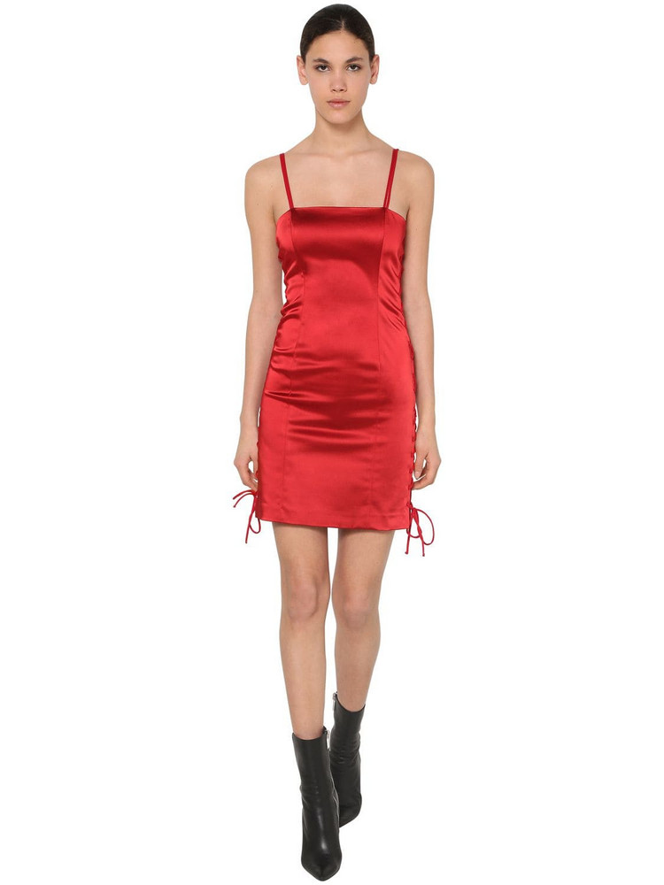 UNRAVEL Satin Laced Up Mini Dress in red