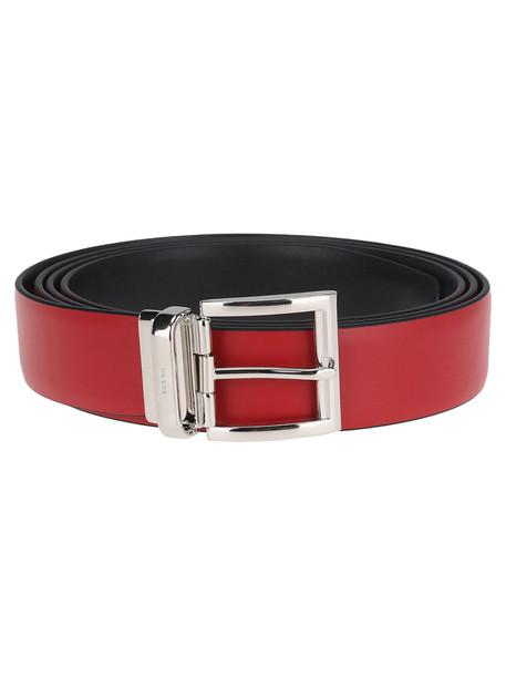 Prada Reversible Bi-coloured Leather Belt in black / red