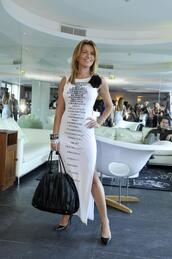 dress,white,slit,quote on it,isabel angelino,pekan,pekan jewels,pekan jewels party,long,sleeveless,portugal