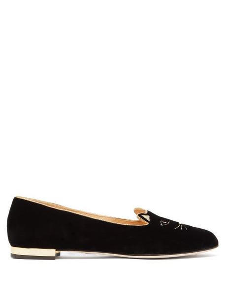 Charlotte Olympia - Kitty Cat Face Embroidered Velvet Flats - Womens - Black