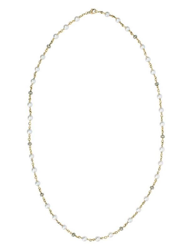 Sylva & Cie 18kt yellow gold diamond akoya pearl necklace