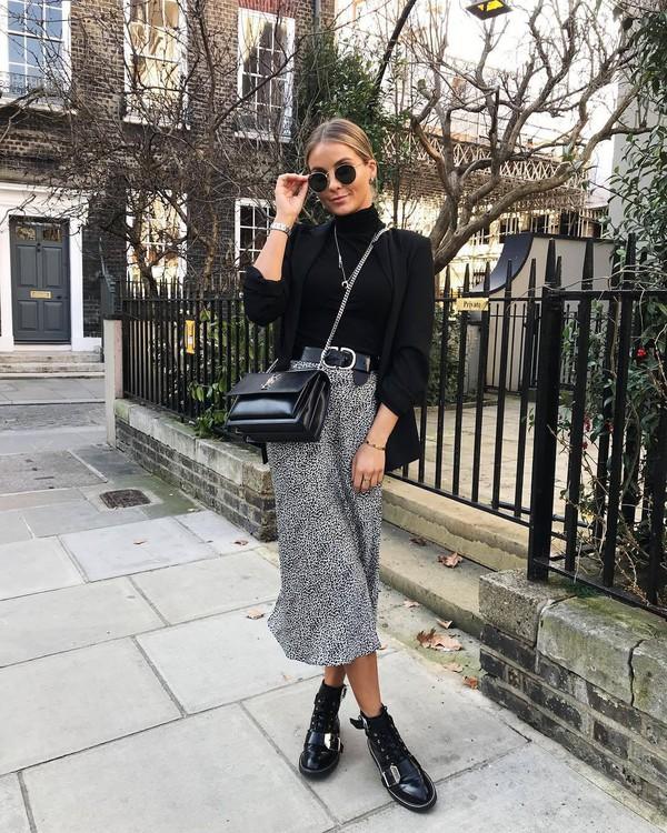 skirt midi skirt topshop black bag ysl bag black belt black blazer black turtleneck top
