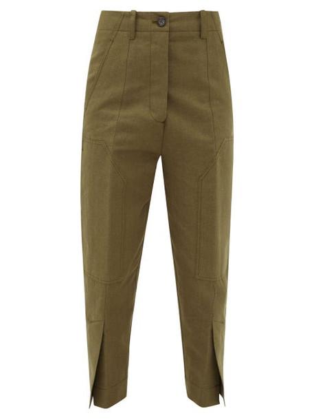 Colville - Slit-cuff Cotton And Linen-blend Cargo Trousers - Womens - Khaki