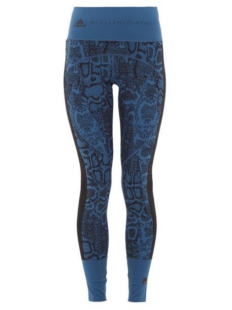 Adidas By Stella Mccartney - Snake-print High-rise Technical Jersey Leggings - Womens - Blue Multi